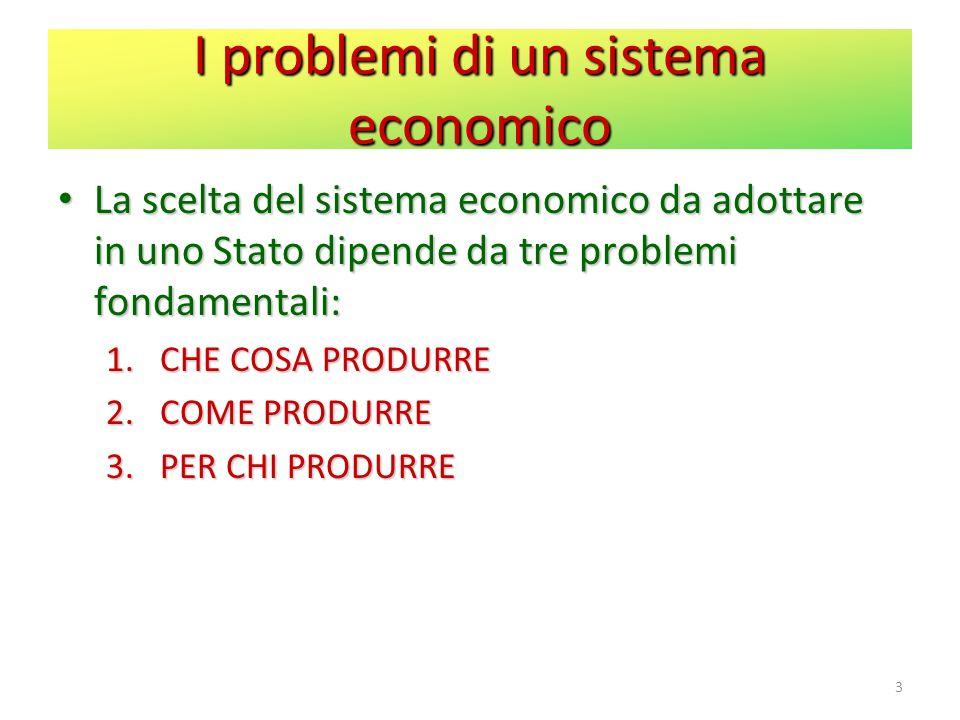 I problemi di un sistema economico La scelta del sistema economico da adottare in uno Stato dipende da tre problemi fondamentali: La scelta del sistem