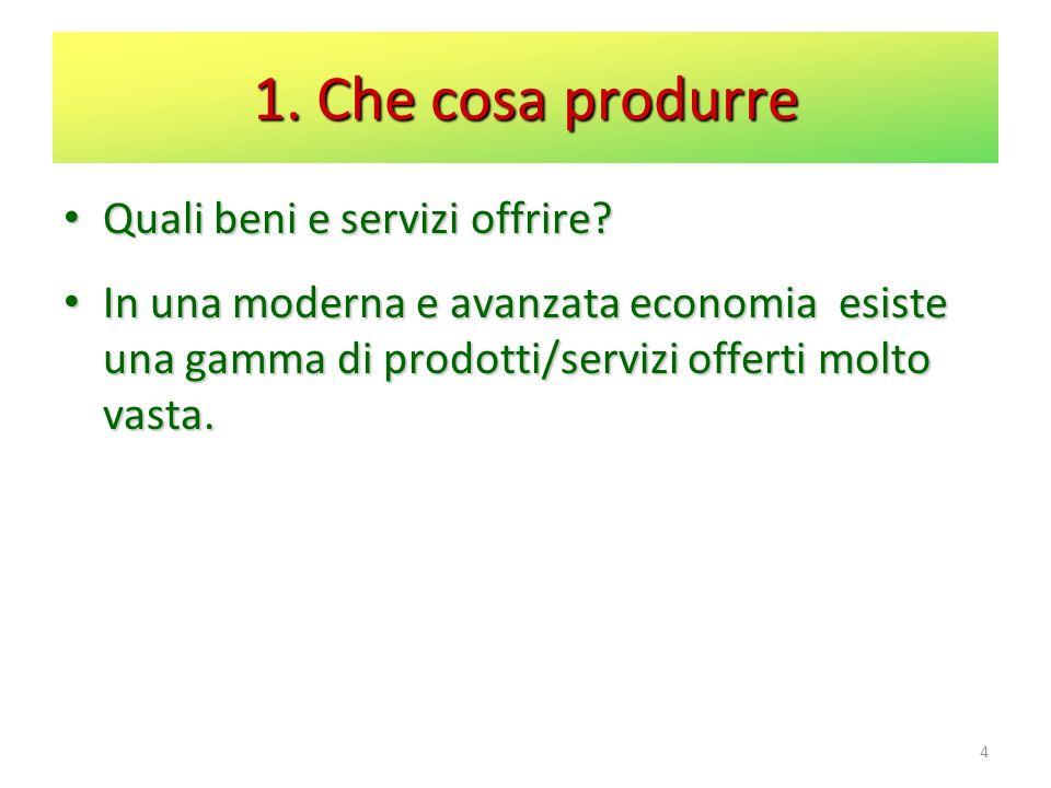 1. Che cosa produrre Quali beni e servizi offrire? Quali beni e servizi offrire? In una moderna e avanzata economia esiste una gamma di prodotti/servi