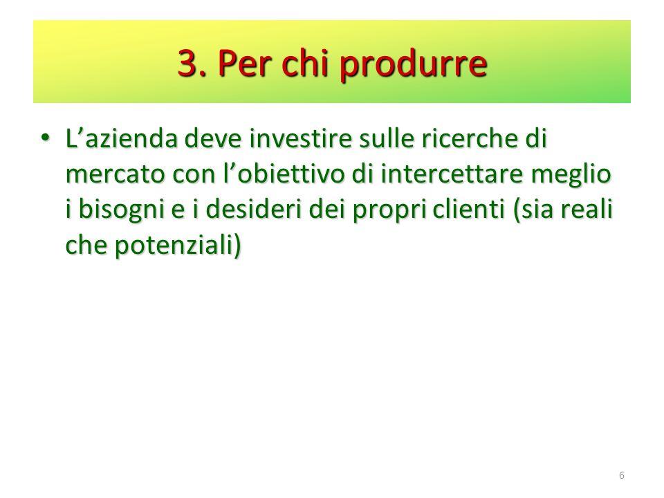 3. Per chi produrre Lazienda deve investire sulle ricerche di mercato con lobiettivo di intercettare meglio i bisogni e i desideri dei propri clienti