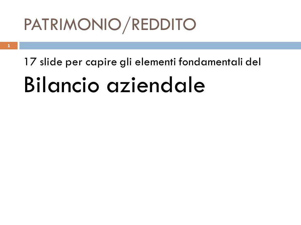 PATRIMONIO/REDDITO 17 slide per capire gli elementi fondamentali del Bilancio aziendale 1