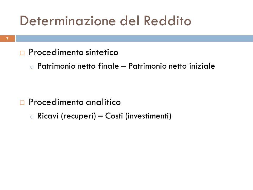 Determinazione del Reddito Procedimento sintetico o Patrimonio netto finale – Patrimonio netto iniziale Procedimento analitico o Ricavi (recuperi) – Costi (investimenti) 7