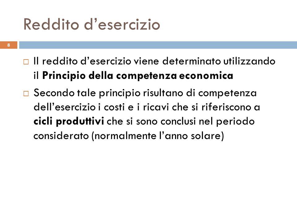 Reddito desercizio Il reddito desercizio viene determinato utilizzando il Principio della competenza economica Secondo tale principio risultano di com