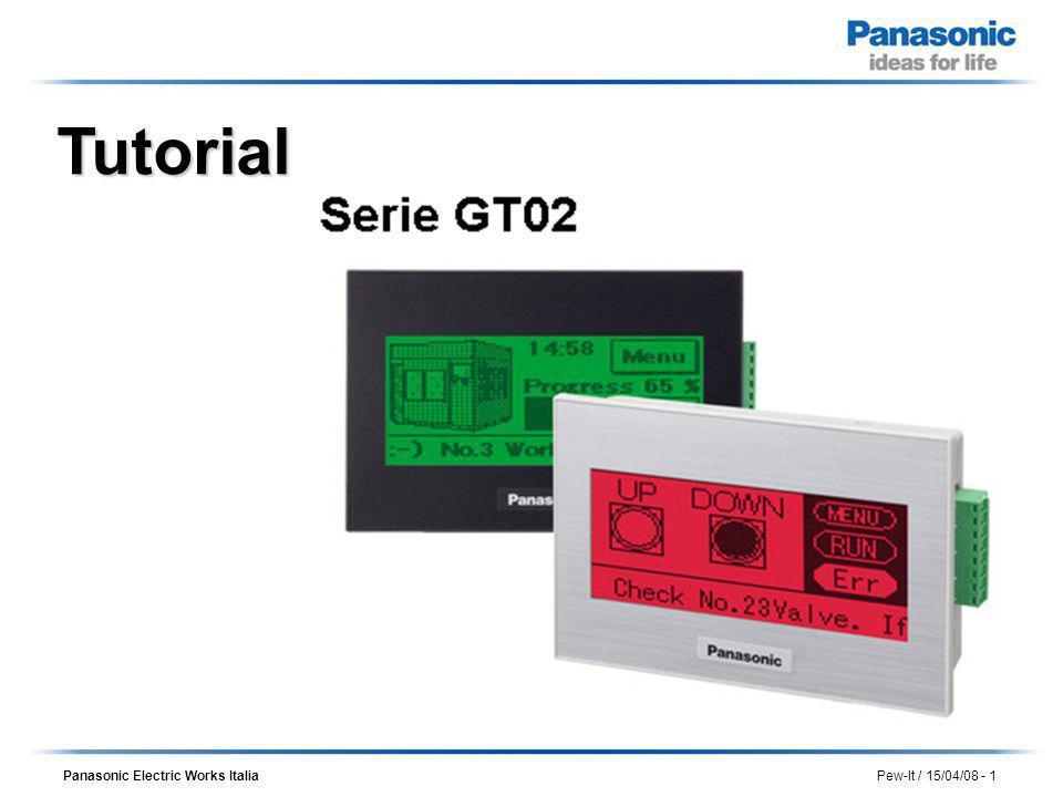 Panasonic Electric Works Italia Pew-It / 15/04/08 - 2 Gamma prodotti serie GT GT05 GT21 GT32 GT12 GT02 3 3.5 4.6 4.7 5.7 NE W Software di programmazione proprietario (GTWIN) Backlight Led a tripla colorazione o Led bianchi Touch screen ultracompatti Display monocromatici o colore Slot per SD/SDHC Card Multiprotocollo