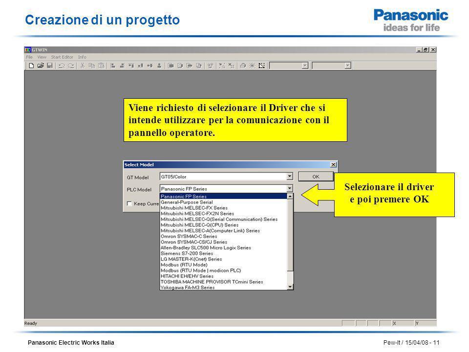 Panasonic Electric Works Italia Pew-It / 15/04/08 - 11 Viene richiesto di selezionare il Driver che si intende utilizzare per la comunicazione con il