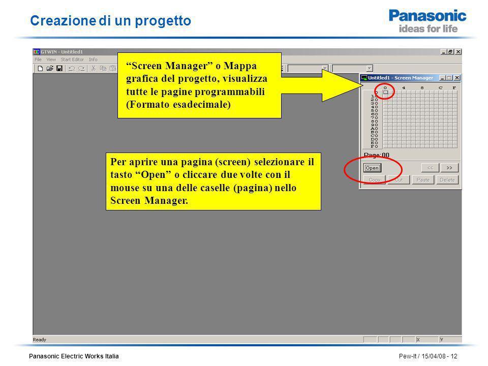 Panasonic Electric Works Italia Pew-It / 15/04/08 - 12 Screen Manager o Mappa grafica del progetto, visualizza tutte le pagine programmabili (Formato