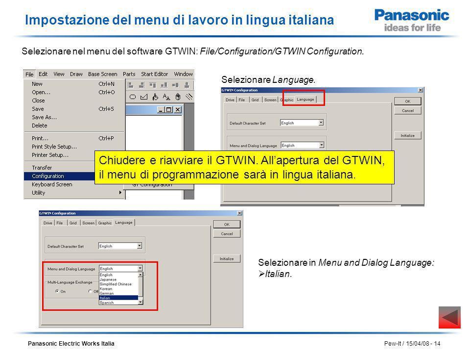 Panasonic Electric Works Italia Pew-It / 15/04/08 - 14 Impostazione del menu di lavoro in lingua italiana Selezionare nel menu del software GTWIN: Fil