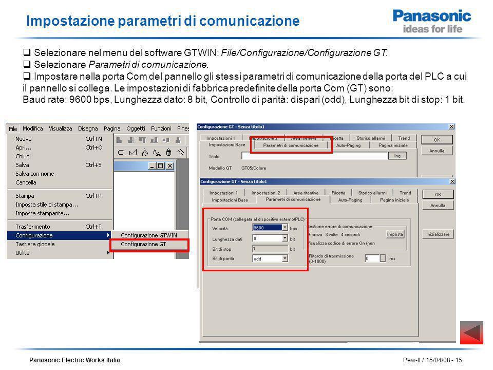 Panasonic Electric Works Italia Pew-It / 15/04/08 - 15 Impostazione parametri di comunicazione Selezionare Parametri di comunicazione. Impostare nella