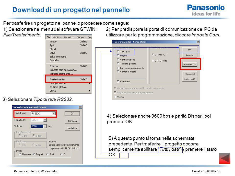Panasonic Electric Works Italia Pew-It / 15/04/08 - 16 Download di un progetto nel pannello 1) Selezionare nel menu del software GTWIN: File/Trasferim