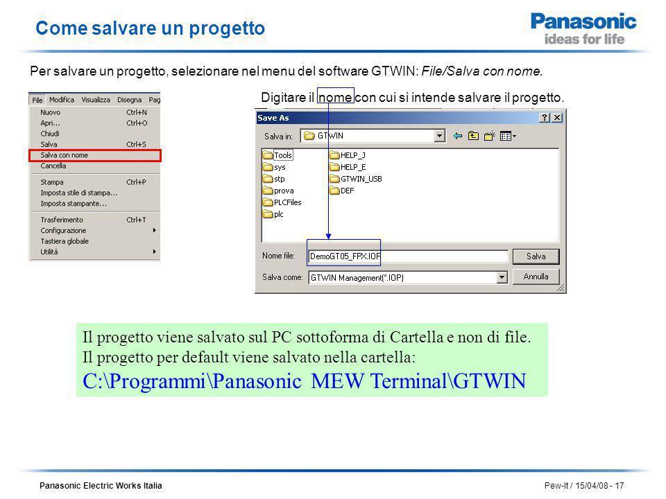 Panasonic Electric Works Italia Pew-It / 15/04/08 - 17 Il progetto viene salvato sul PC sottoforma di Cartella e non di file. Il progetto per default