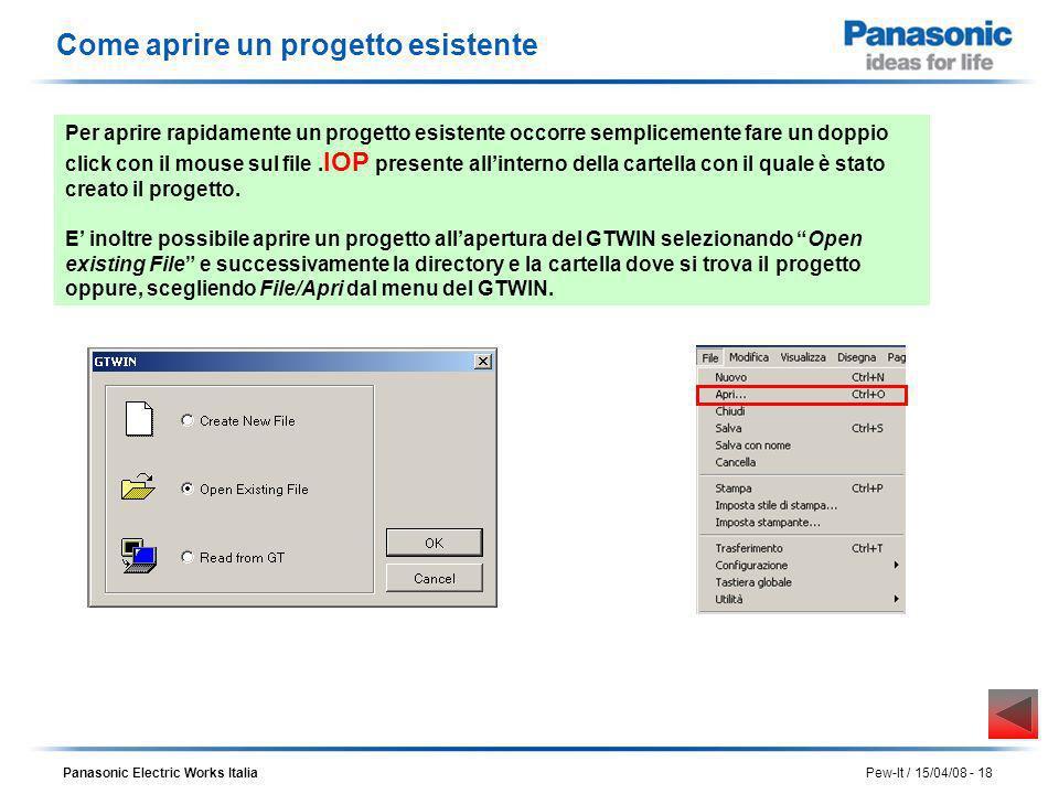 Panasonic Electric Works Italia Pew-It / 15/04/08 - 18 Come aprire un progetto esistente Per aprire rapidamente un progetto esistente occorre semplice