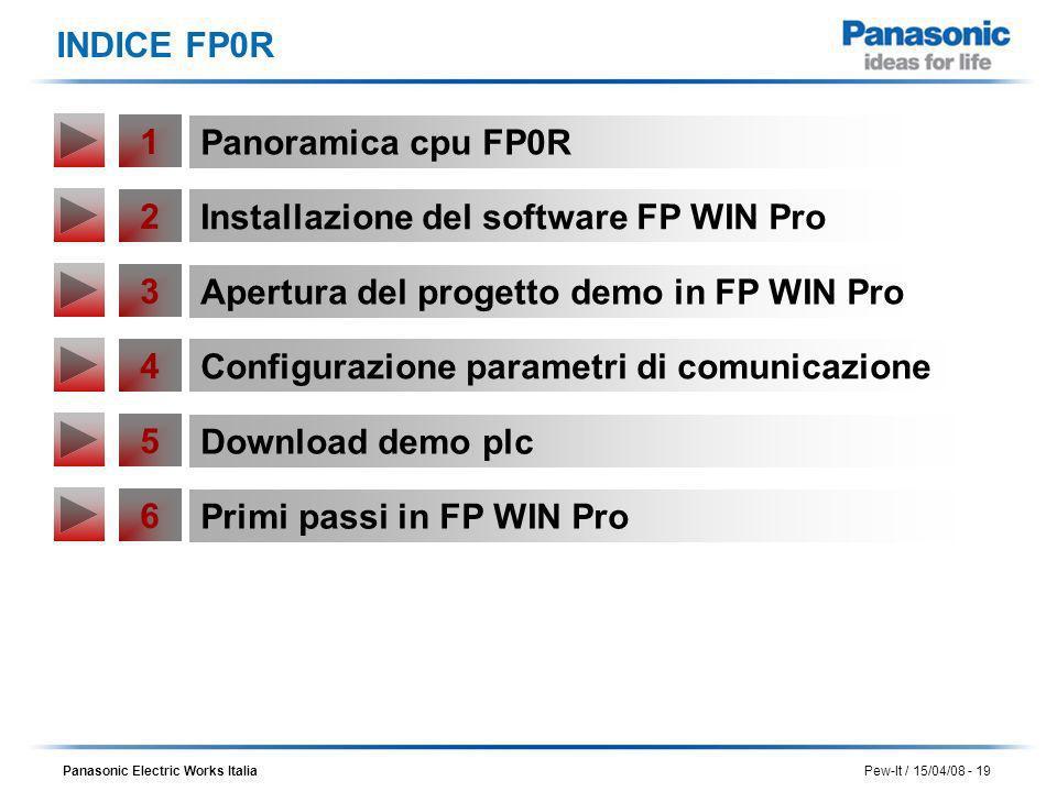 Panasonic Electric Works Italia Pew-It / 15/04/08 - 19 INDICE FP0R 2 Installazione del software FP WIN Pro 3 Apertura del progetto demo in FP WIN Pro