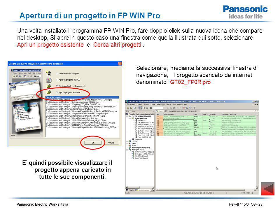 Panasonic Electric Works Italia Pew-It / 15/04/08 - 23 Apertura di un progetto in FP WIN Pro Una volta installato il programma FP WIN Pro, fare doppio