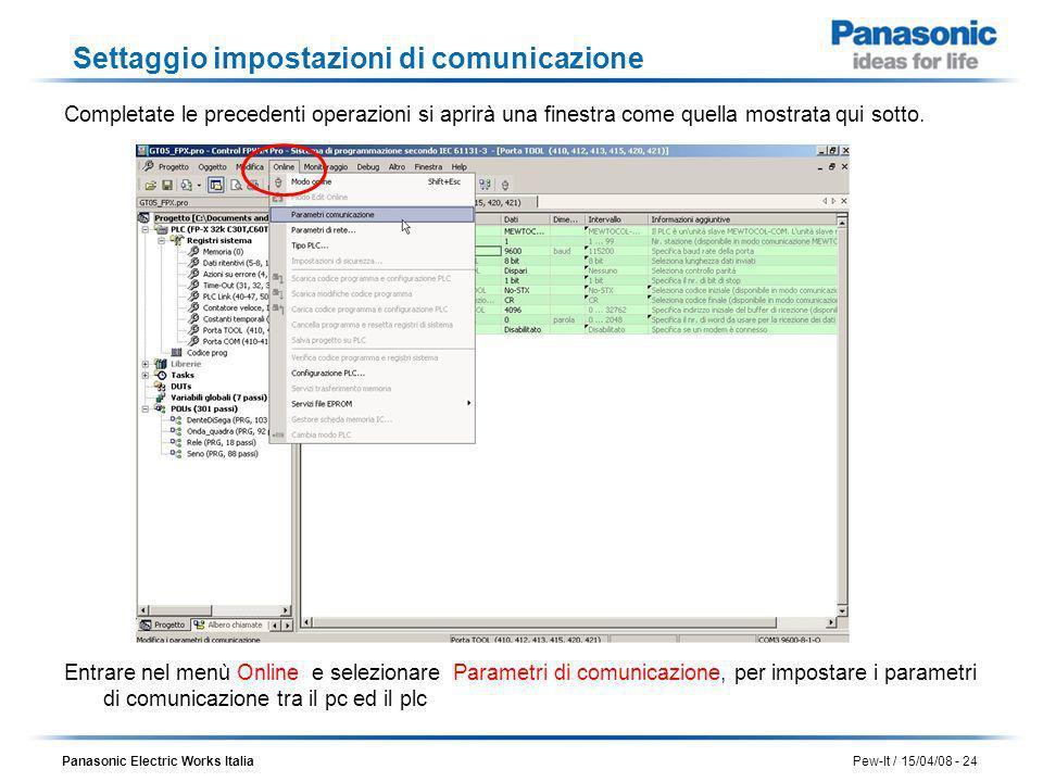 Panasonic Electric Works Italia Pew-It / 15/04/08 - 24 Settaggio impostazioni di comunicazione Completate le precedenti operazioni si aprirà una fines
