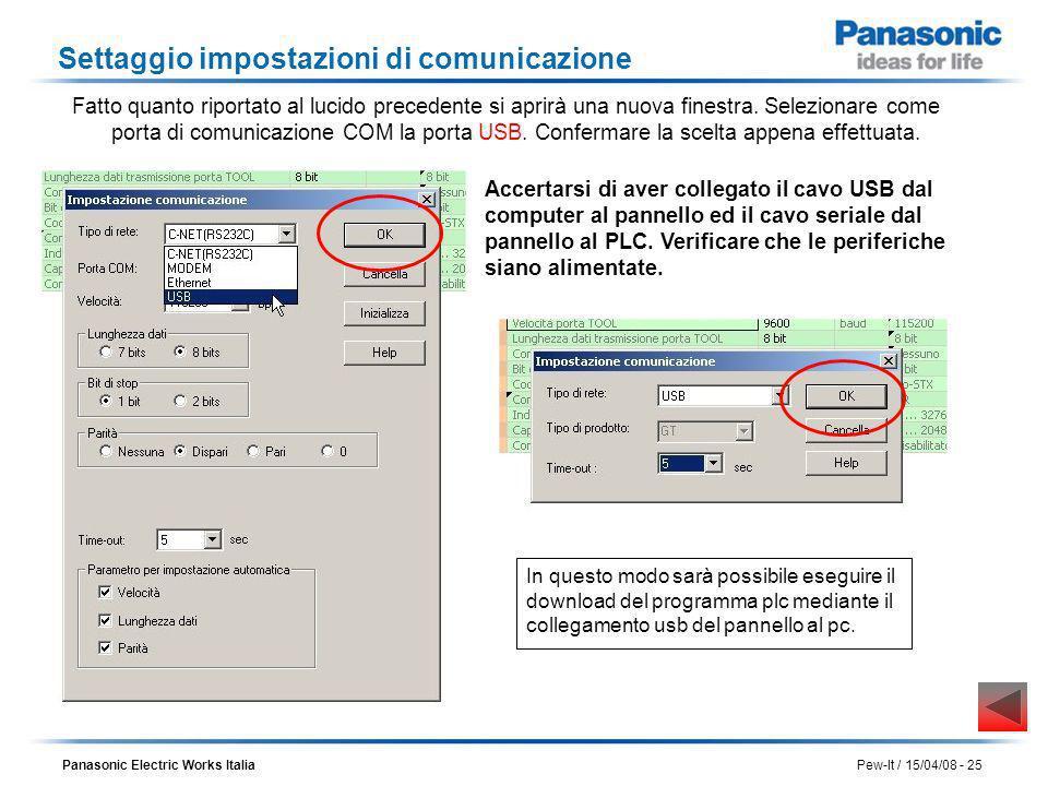 Panasonic Electric Works Italia Pew-It / 15/04/08 - 25 Settaggio impostazioni di comunicazione Accertarsi di aver collegato il cavo USB dal computer a