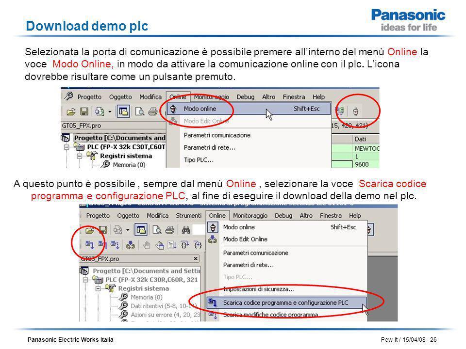 Panasonic Electric Works Italia Pew-It / 15/04/08 - 26 Download demo plc Selezionata la porta di comunicazione è possibile premere allinterno del menù