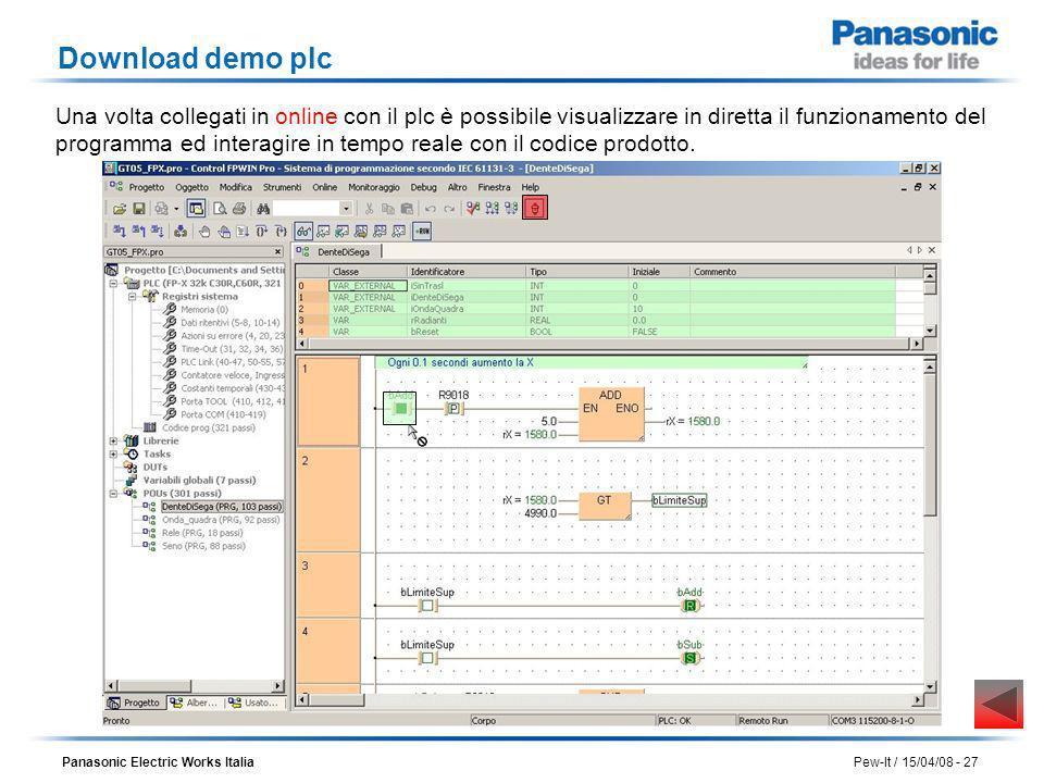 Panasonic Electric Works Italia Pew-It / 15/04/08 - 27 Download demo plc Una volta collegati in online con il plc è possibile visualizzare in diretta