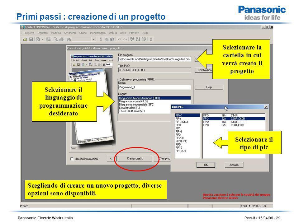 Panasonic Electric Works Italia Pew-It / 15/04/08 - 29 Scegliendo di creare un nuovo progetto, diverse opzioni sono disponibili. Selezionare il tipo d