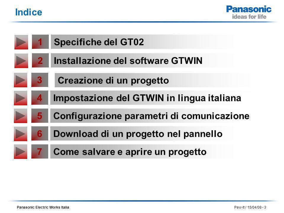 Panasonic Electric Works Italia Pew-It / 15/04/08 - 3 Indice 2Installazione del software GTWIN 3 Creazione di un progetto 4Impostazione del GTWIN in l