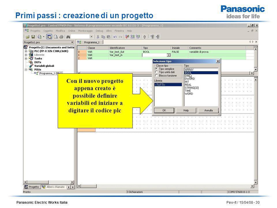 Panasonic Electric Works Italia Pew-It / 15/04/08 - 30 Con il nuovo progetto appena creato è possibile definire variabili ed iniziare a digitare il co