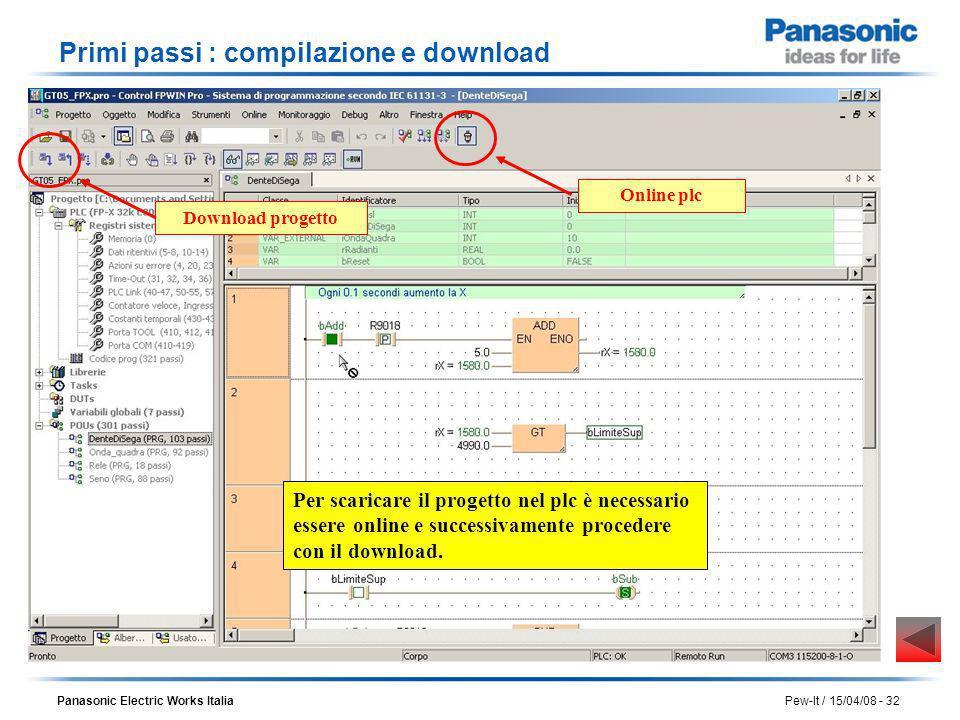 Panasonic Electric Works Italia Pew-It / 15/04/08 - 32 Primi passi : compilazione e download Per scaricare il progetto nel plc è necessario essere onl