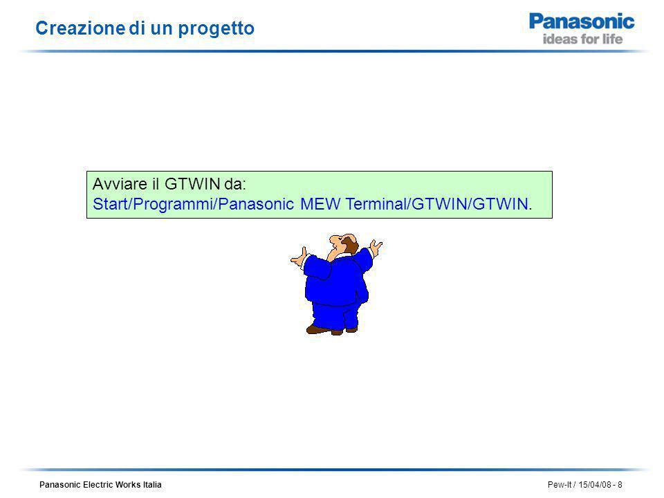 Panasonic Electric Works Italia Pew-It / 15/04/08 - 8 Creazione di un progetto Avviare il GTWIN da: Start/Programmi/Panasonic MEW Terminal/GTWIN/GTWIN