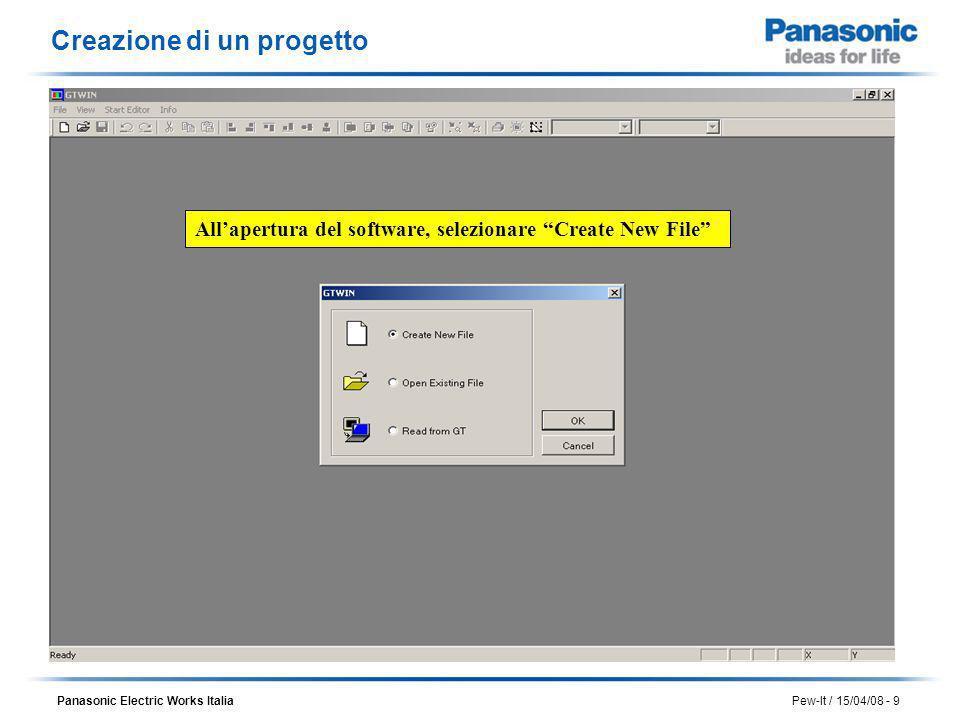 Panasonic Electric Works Italia Pew-It / 15/04/08 - 10 Scegliendo di creare un nuovo progetto viene richiesto il tipo di GT che si intende utilizzare Creazione di un progetto Selezionare il modello GT02 e poi premere OK