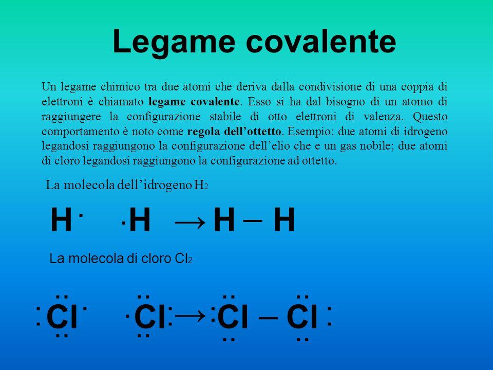 Legame covalente Un legame chimico tra due atomi che deriva dalla condivisione di una coppia di elettroni è chiamato legame covalente. Esso si ha dal
