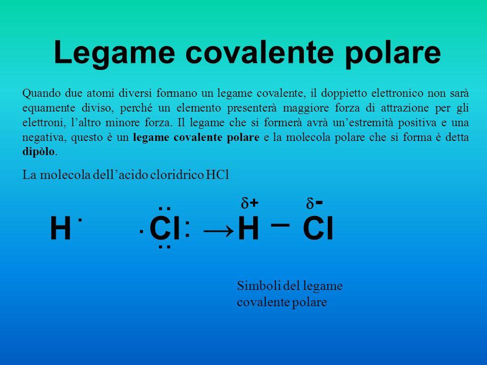 Legame covalente polare Quando due atomi diversi formano un legame covalente, il doppietto elettronico non sarà equamente diviso, perché un elemento p
