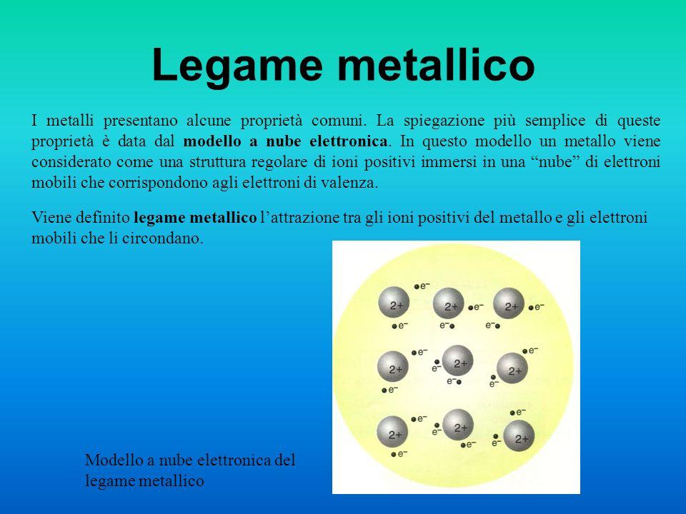 Legame metallico I metalli presentano alcune proprietà comuni. La spiegazione più semplice di queste proprietà è data dal modello a nube elettronica.