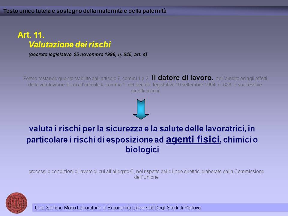 Art.11. Valutazione dei rischi (decreto legislativo 25 novembre 1996, n.