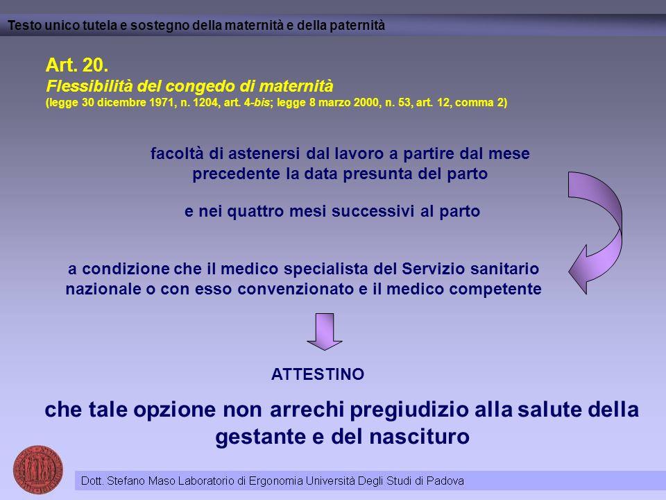 Art. 20. Flessibilità del congedo di maternità (legge 30 dicembre 1971, n. 1204, art. 4-bis; legge 8 marzo 2000, n. 53, art. 12, comma 2) Testo unico