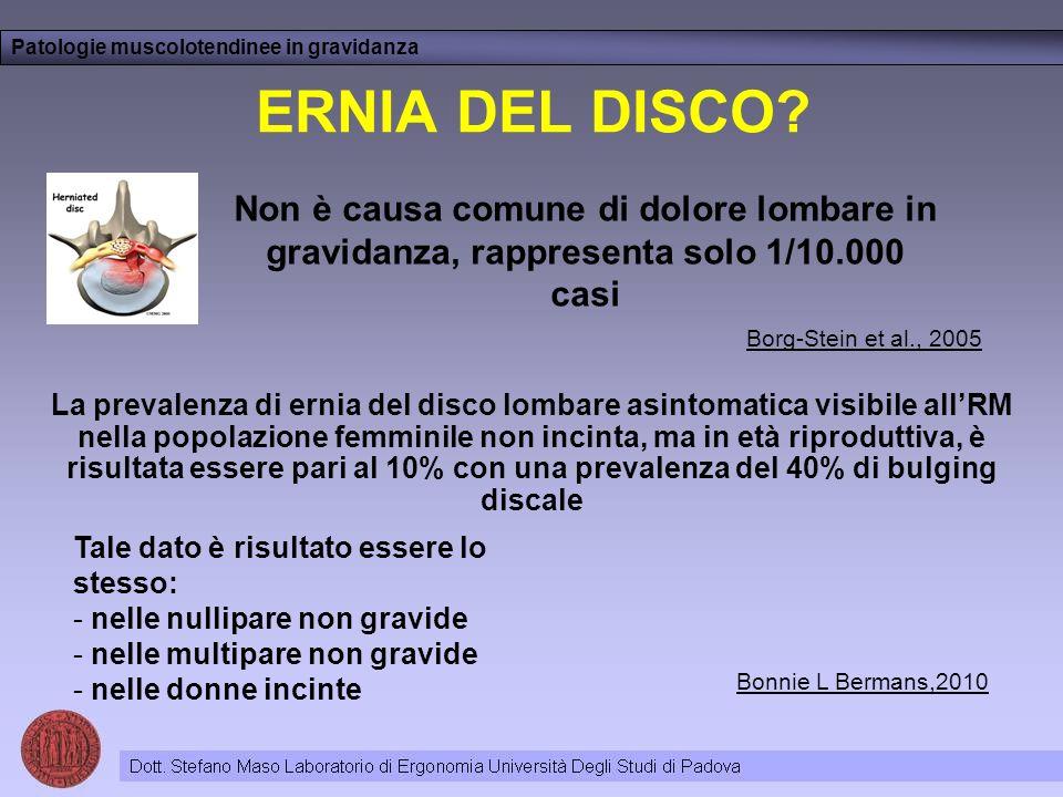 ERNIA DEL DISCO? Patologie muscolotendinee in gravidanza Bonnie L Bermans,2010 Tale dato è risultato essere lo stesso: - nelle nullipare non gravide -