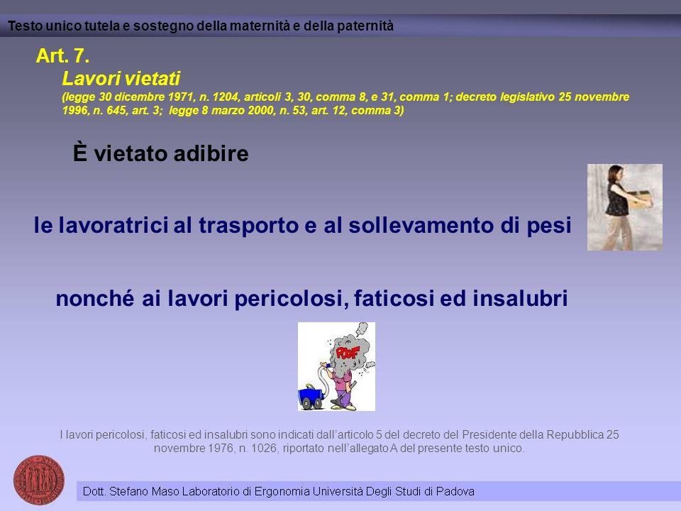 Art. 7. Lavori vietati (legge 30 dicembre 1971, n. 1204, articoli 3, 30, comma 8, e 31, comma 1; decreto legislativo 25 novembre 1996, n. 645, art. 3;