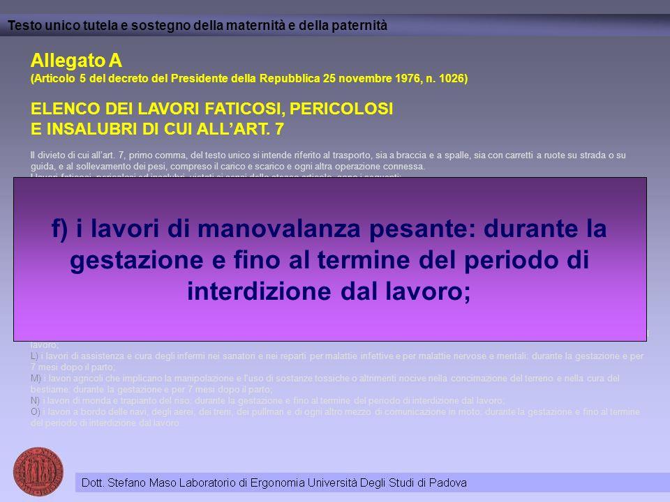Allegato A (Articolo 5 del decreto del Presidente della Repubblica 25 novembre 1976, n. 1026) ELENCO DEI LAVORI FATICOSI, PERICOLOSI E INSALUBRI DI CU