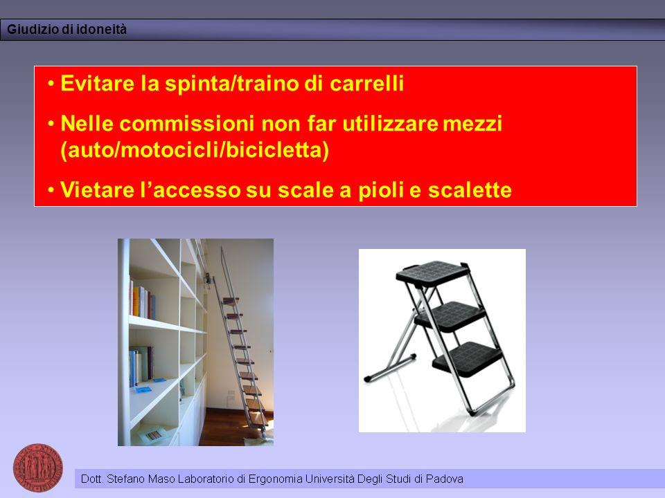 Evitare la spinta/traino di carrelli Nelle commissioni non far utilizzare mezzi (auto/motocicli/bicicletta) Vietare laccesso su scale a pioli e scalette Giudizio di idoneità