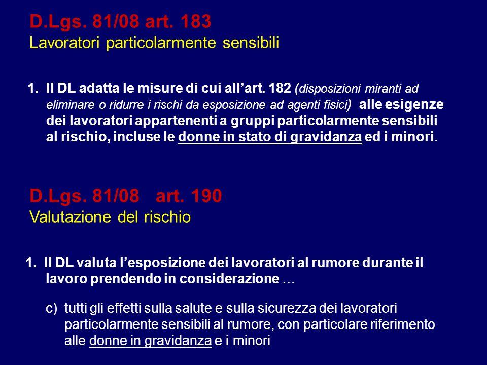 D.Lgs. 81/08 art. 183 Lavoratori particolarmente sensibili 1.