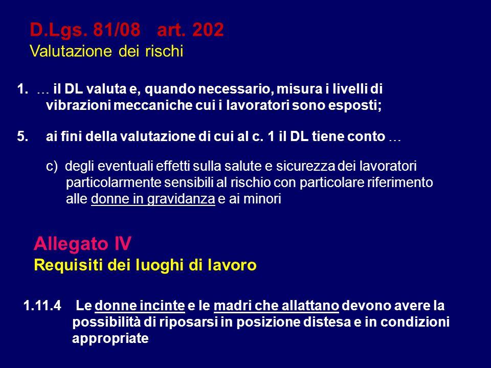 D.Lgs. 81/08 art. 202 Valutazione dei rischi 1.