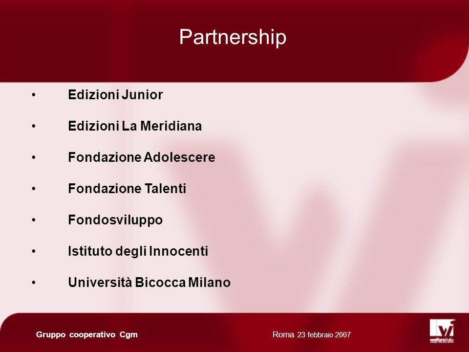 Roma 23 febbraio 2007 Gruppo cooperativo Cgm Edizioni Junior Edizioni La Meridiana Fondazione Adolescere Fondazione Talenti Fondosviluppo Istituto degli Innocenti Università Bicocca Milano Partnership