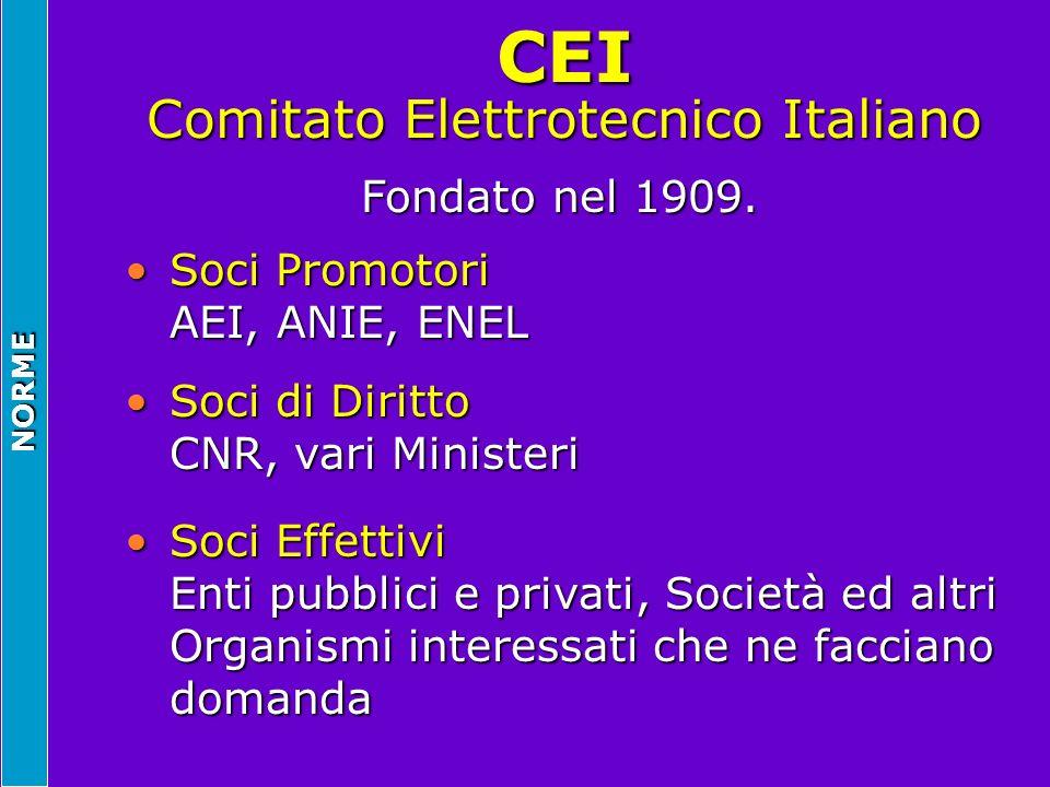 NORME CEI Comitato Elettrotecnico Italiano Fondato nel 1909. Soci Promotori AEI, ANIE, ENELSoci Promotori AEI, ANIE, ENEL Soci di Diritto CNR, vari Mi