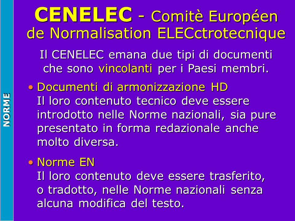 NORME CENELEC - Comitè Européen de Normalisation ELECctrotecnique Il CENELEC emana due tipi di documenti che sono vincolanti per i Paesi membri. Docum