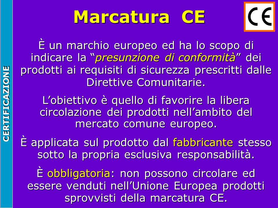 CERTIFICAZIONE Marcatura CE È un marchio europeo ed ha lo scopo di indicare la presunzione di conformità dei prodotti ai requisiti di sicurezza prescr
