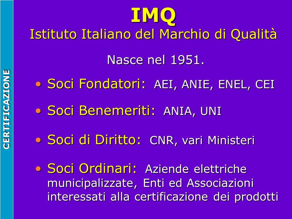 IMQ Istituto Italiano del Marchio di Qualità Nasce nel 1951. Soci Fondatori: AEI, ANIE, ENEL, CEISoci Fondatori: AEI, ANIE, ENEL, CEI Soci di Diritto: