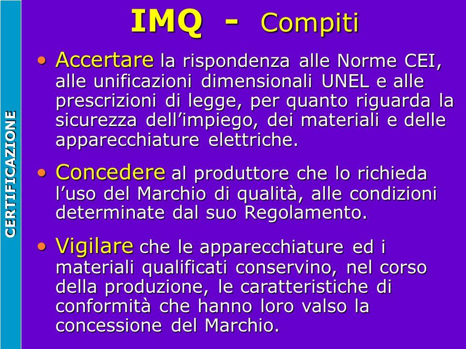 IMQ - Compiti CERTIFICAZIONE Accertare la rispondenza alle Norme CEI, alle unificazioni dimensionali UNEL e alle prescrizioni di legge, per quanto rig