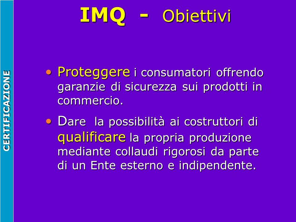 IMQ - Obiettivi CERTIFICAZIONE Proteggere i consumatori offrendo garanzie di sicurezza sui prodotti in commercio.Proteggere i consumatori offrendo gar