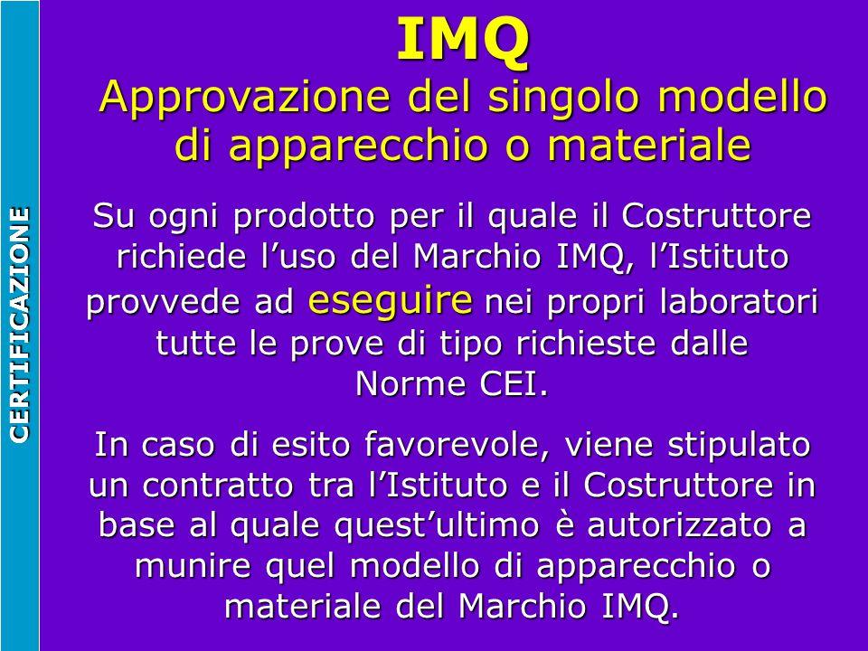 IMQ Approvazione del singolo modello di apparecchio o materiale CERTIFICAZIONE Su ogni prodotto per il quale il Costruttore richiede luso del Marchio