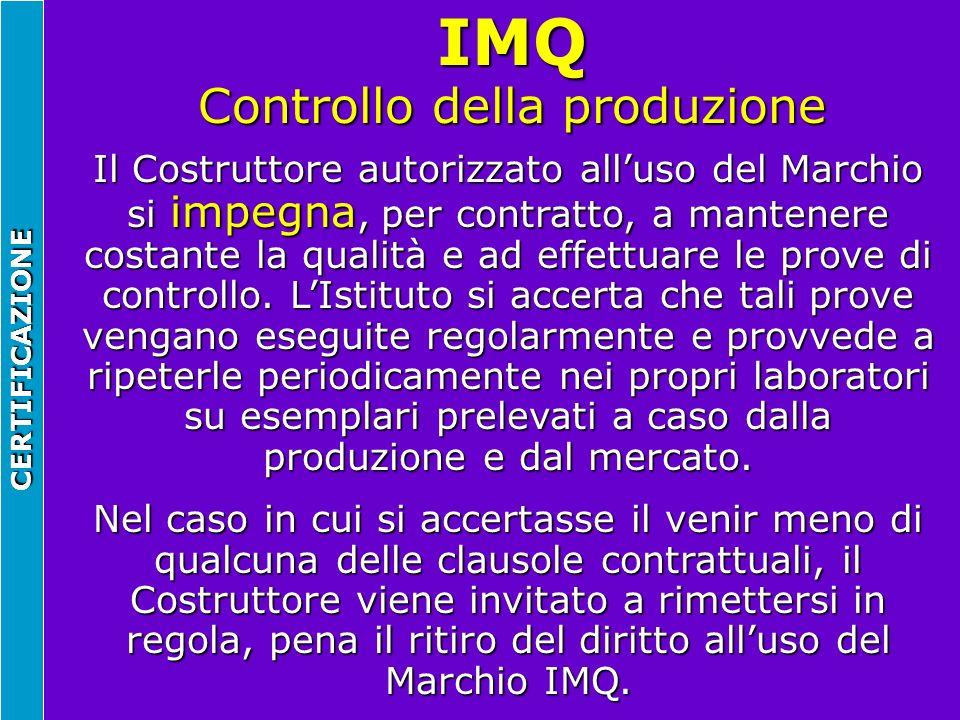 IMQ Controllo della produzione CERTIFICAZIONE Il Costruttore autorizzato alluso del Marchio si impegna, per contratto, a mantenere costante la qualità