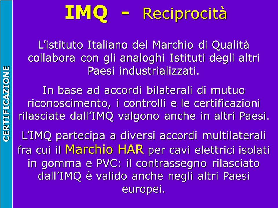 IMQ - Reciprocità CERTIFICAZIONE Listituto Italiano del Marchio di Qualità collabora con gli analoghi Istituti degli altri Paesi industrializzati. In