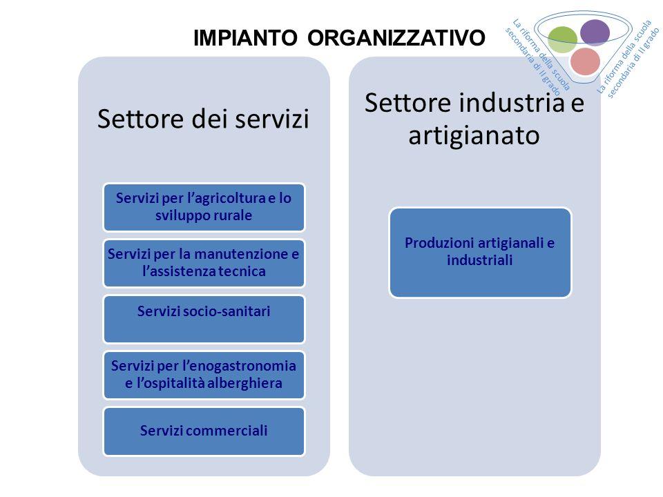Settore dei servizi Servizi per lagricoltura e lo sviluppo rurale Servizi per la manutenzione e lassistenza tecnica Servizi socio-sanitari Servizi per