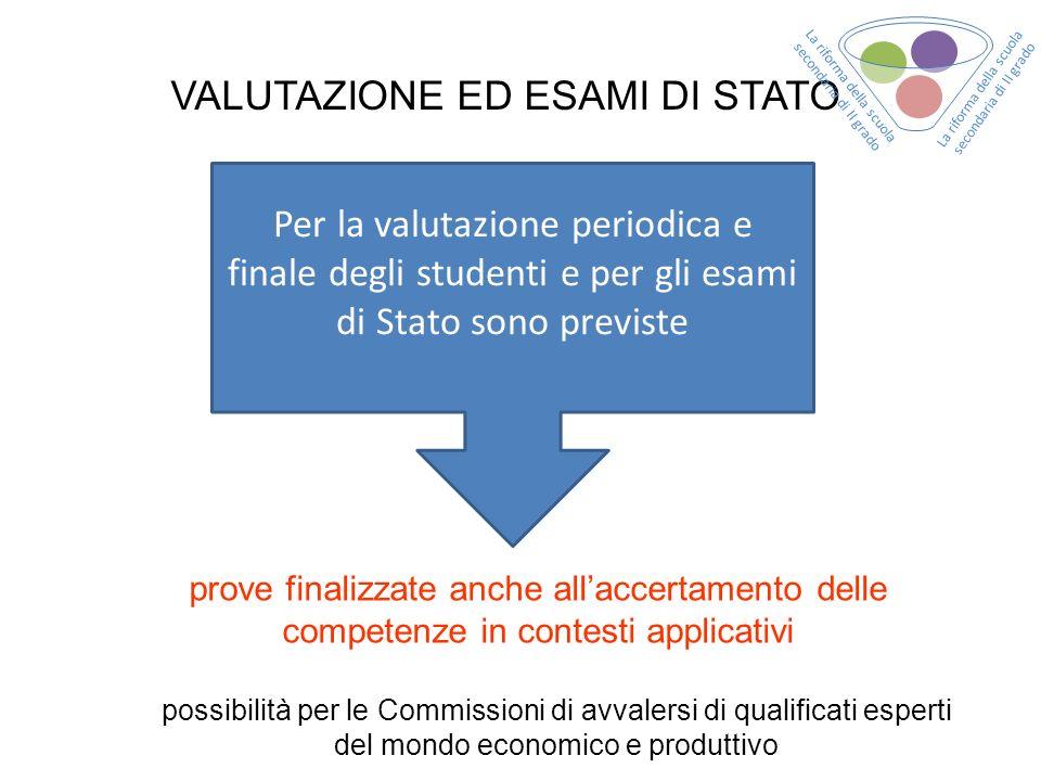 VALUTAZIONE ED ESAMI DI STATO Per la valutazione periodica e finale degli studenti e per gli esami di Stato sono previste prove finalizzate anche alla