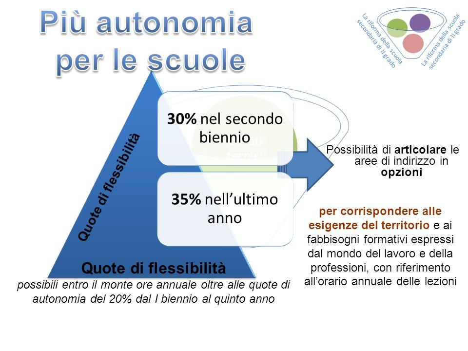 30% nel secondo biennio 35% nellultimo anno Quote di flessibilità possibili entro il monte ore annuale oltre alle quote di autonomia del 20% dal I bie